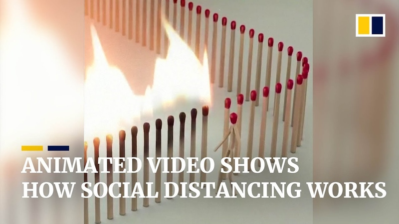 Animated match burning video shows how social distancing can stop the spread of Covid 19