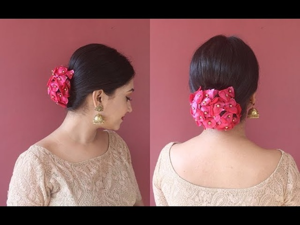 How To Cover Your Hair Bun With Rose Petals Juda Hairstyle Asmita