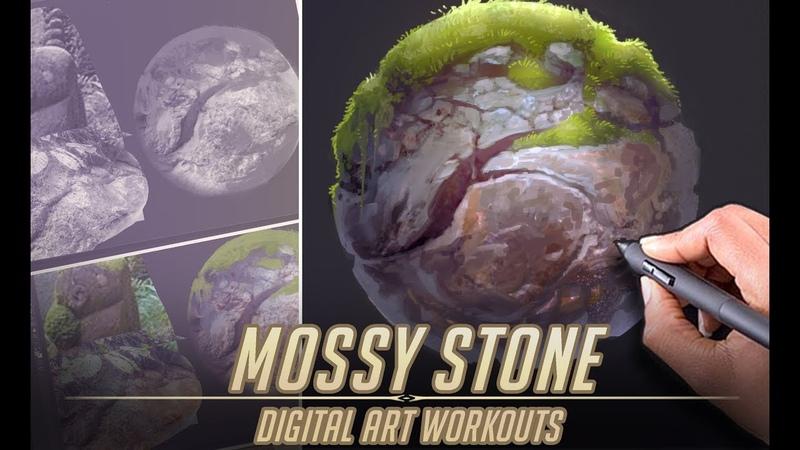 Mossy Stone Material Study Digital Art Workouts 3 Photoshop