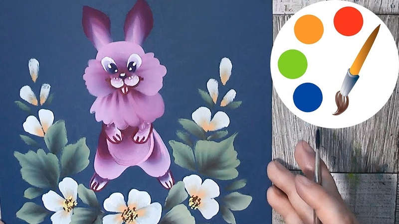 Paint a pink rabbit, One Stroke for beginners, easysimple