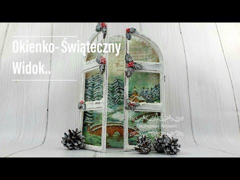 Decoupage Okienko Świąteczny Widok Window Christmas View DIY tutorial