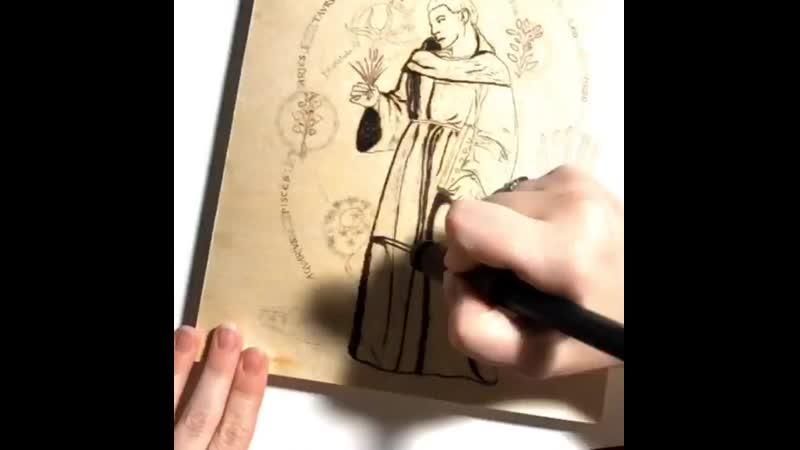 Брат Кадфаэль в технике пирографии процесс