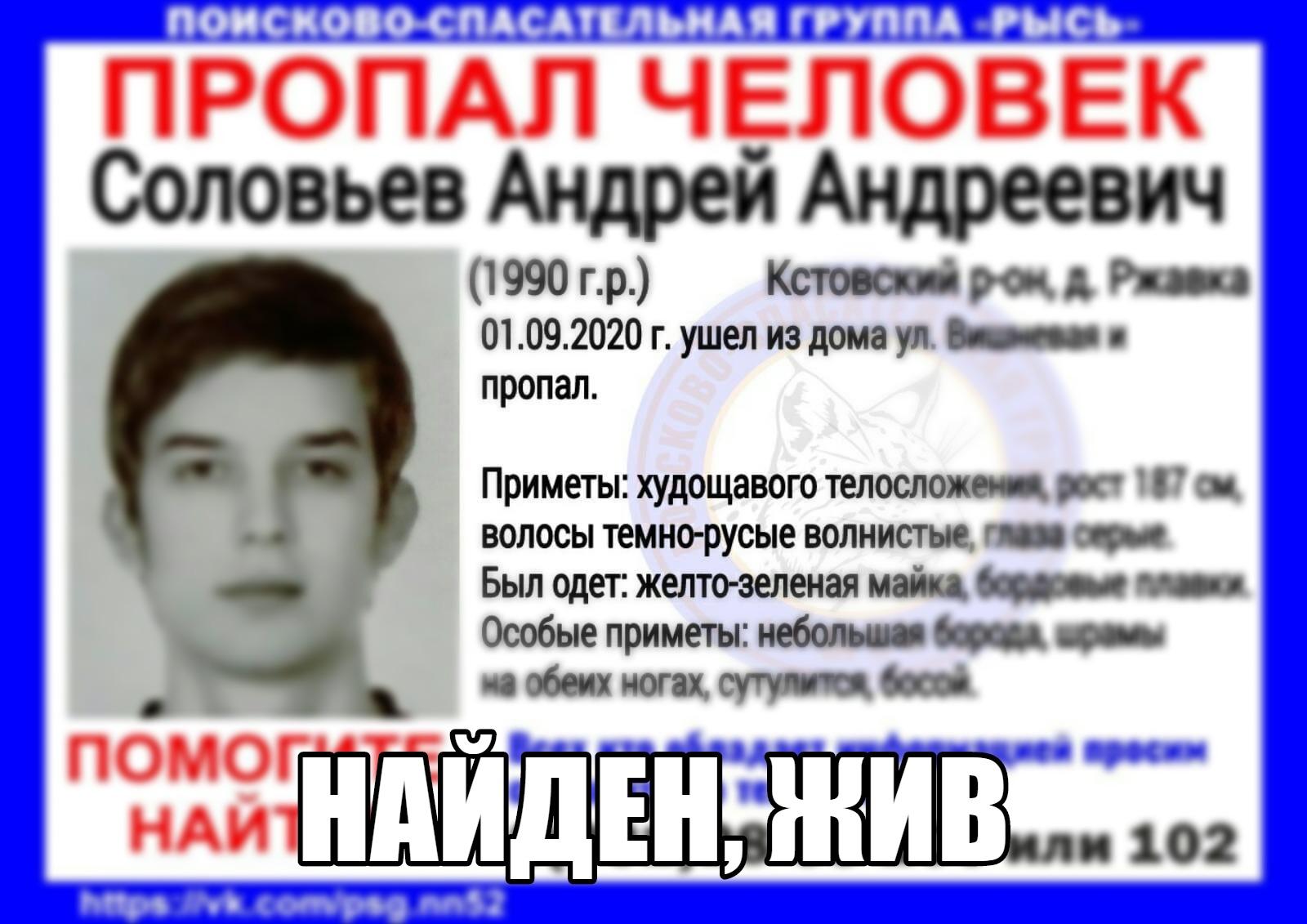 Соловьев Андрей Андреевич, 1990 г. р., Кстовский р-он, д. Ржавка