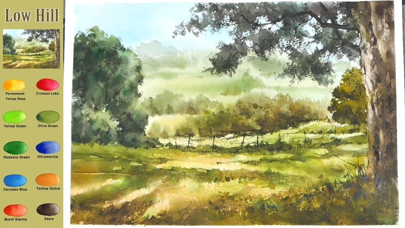 Without Sketch Landscape Watercolor - Low Hill (color mixing process) NAMIL ART