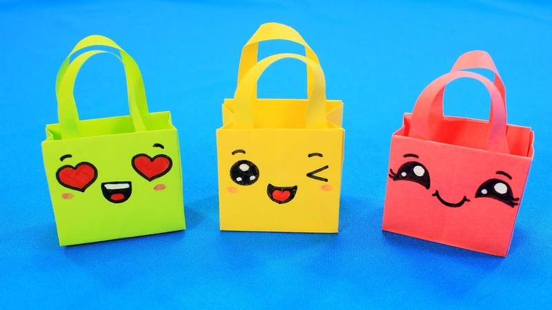 Кавайные сумочки из бумаги. Веселый пакетик для подарка Origami Gift Bags How To Make Paper Bags