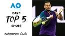 Top 5 shots - Day 1 Australian Open 2021 - Highlights Tennis Eurosport