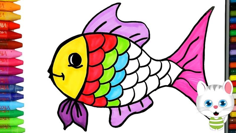 Pagina di colorazione dei pesci con MiMi Come disegnare e colora per i bambini