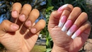 HOW To POLY GEL Pink And White Nails AT HOME | SALON NAILS ON A BUDGET