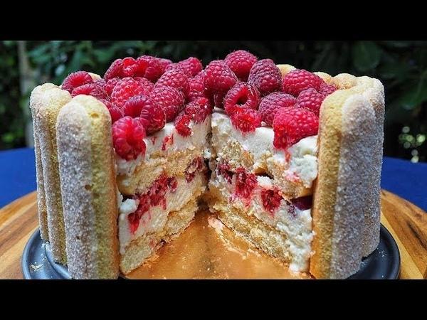 Быстрый торт с малиной по мотивам Тирамису без выпечки