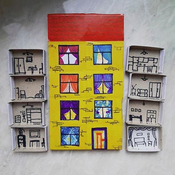 ПОДЕЛКИ ИЗ СПИЧЕЧНЫХ КОРОБКОВ Спичечные коробки, цветная бумага, фломастеры, клей - вот всё то, что нам понадобилось.Можно взять больше коробков, сделать больше этажей, можно сделать домик