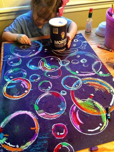 РИСОВАНИЕ МЫЛЬНЫХ ПУЗЫРЕЙ Сегодня мы с вами научимся рисовать мыльные пузыри при помощи цветных восковых карандашей (мелков). Для этой работы вам также понадобится краска белого цвета (например,