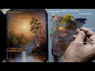 Sunset Landscape Oil Painting By Yasser Fayad