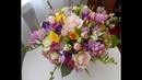 Сборка весеннего букета из роз, фрезий, крокусов. Цветы из холодного фарфора.