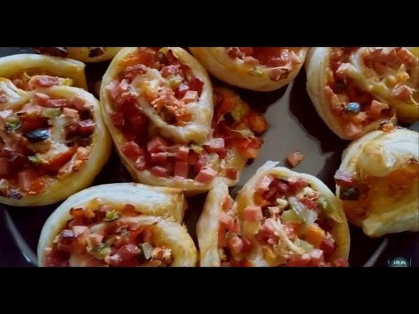 Мини пицца из слоеного теста Puff pastry mini pizza