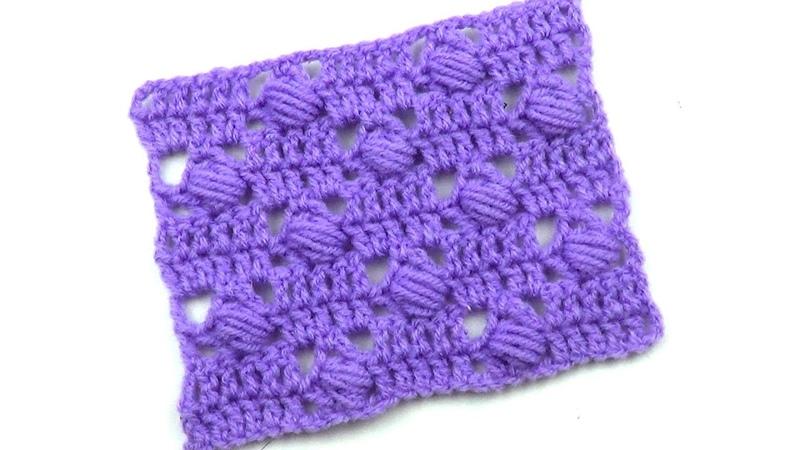 Узор с повернутыми пышными столбиками Crochet pattern with turn puff stitchs