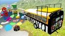 МУЛЬТИКИ про машинки аварии Тачки BeamNG прыгают с трамплина Лего Человек Паук и Шляпник в озере