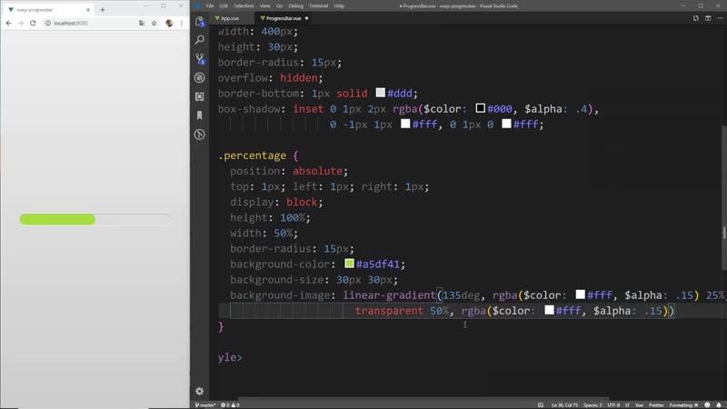 Progress Bar with Animated Stripes in Vue JS ❖ Preloader