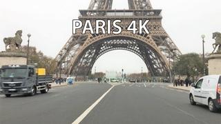 Paris 4K - Eiffel Tower - Driving Downtown - France