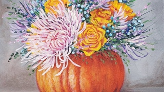 Floral Pumpkin Acrylic Painting LIVE Tutorial